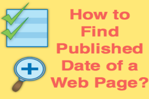 Find Published Date of Web Page