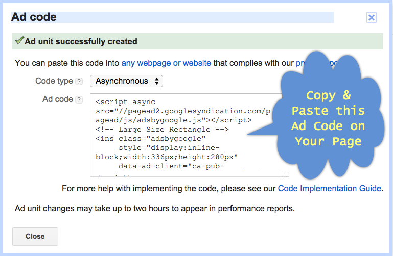 Generating AdSense Ad Code