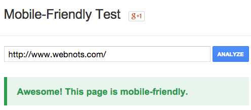 Google Mobile Friendly Testing Tool