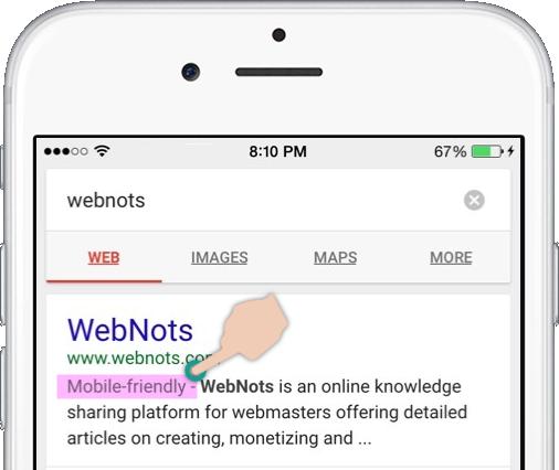 Индикация для мобильных устройств в результатах поиска Google