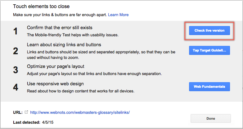 Mobile Usability Check in Google Webmaster Tools