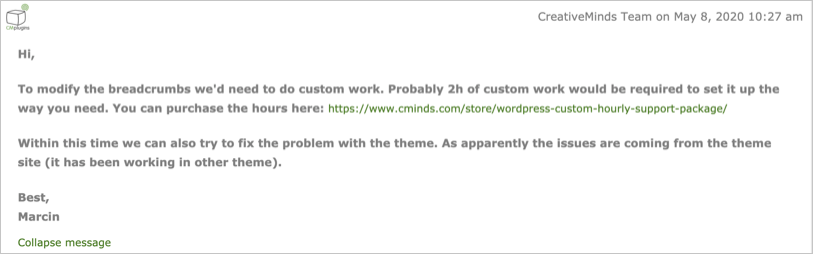 Support Asks to Order Custom Development