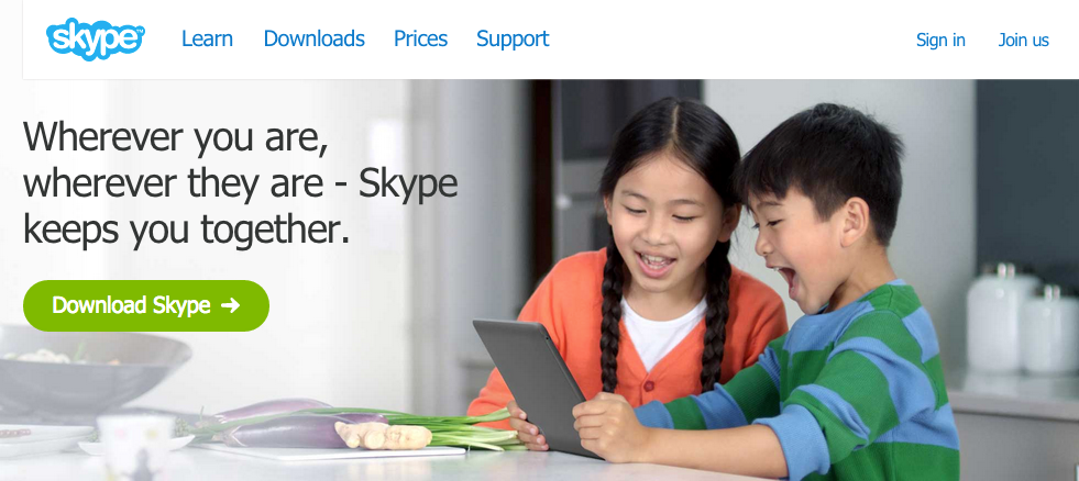Use of Call to Action Button in Skype
