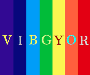 VIBGYOR Rainbow Color Codes