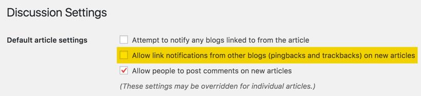 Disable Pingbacks in WordPress