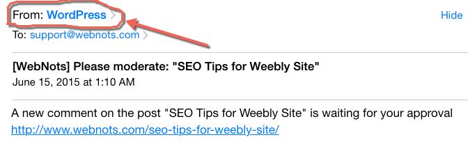 Электронная почта, отправленная от имени пользователя WordPress