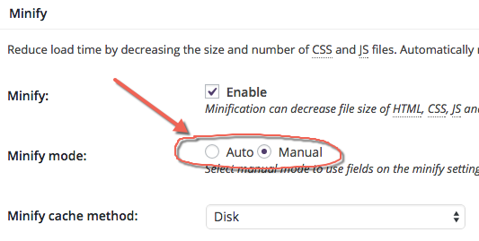 Enable Manual CSS Minify in W3TC WordPress Plugin