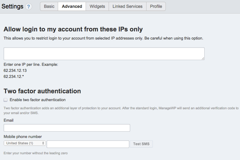 ManageWP Allows Two Factor Authentication