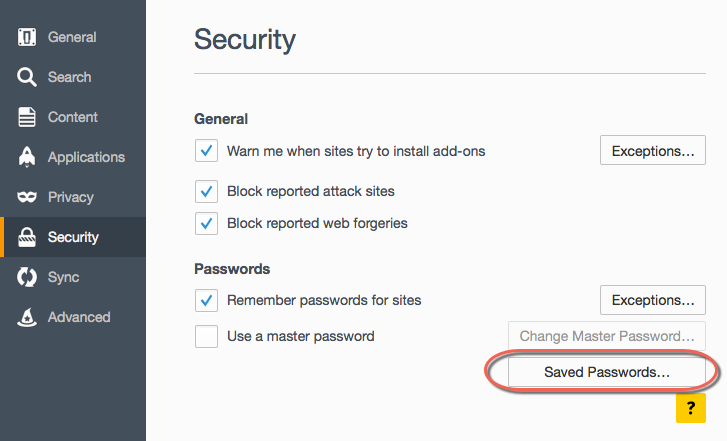 Password Options in Firefox