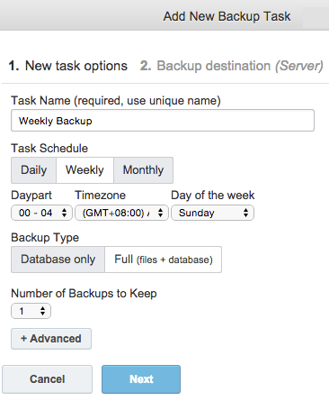 Scheduling Backup in ManageWP