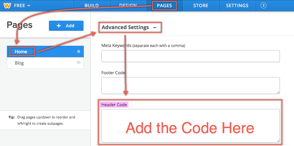 Add Code in Weebly Page Header