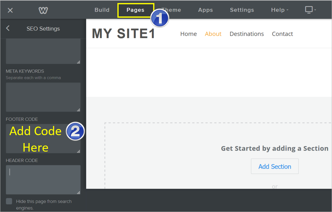 Add Footer Code in Weebly Page