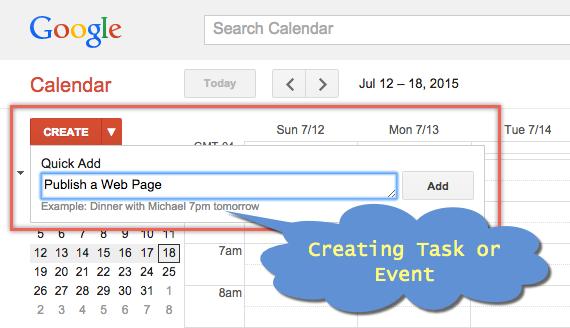 Creating Task or Event in Google Calendar