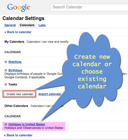 Creating or Choosing Google Calendar