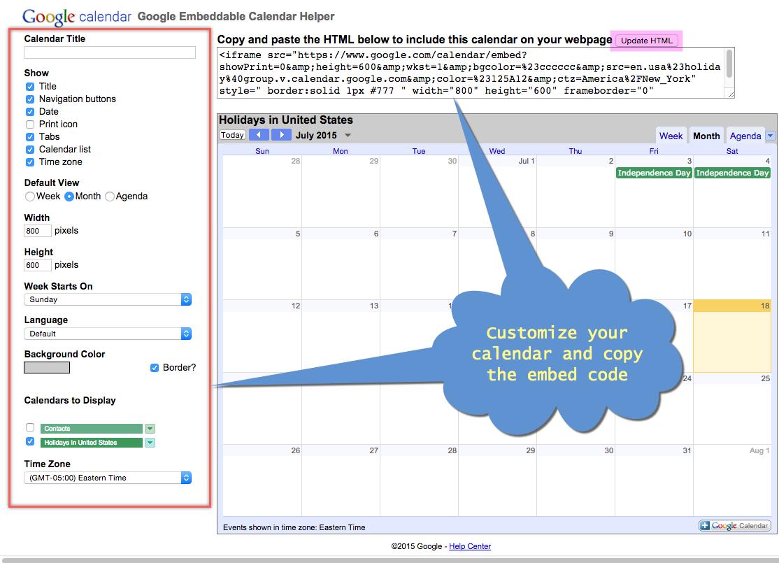 Customizing Google Calendar