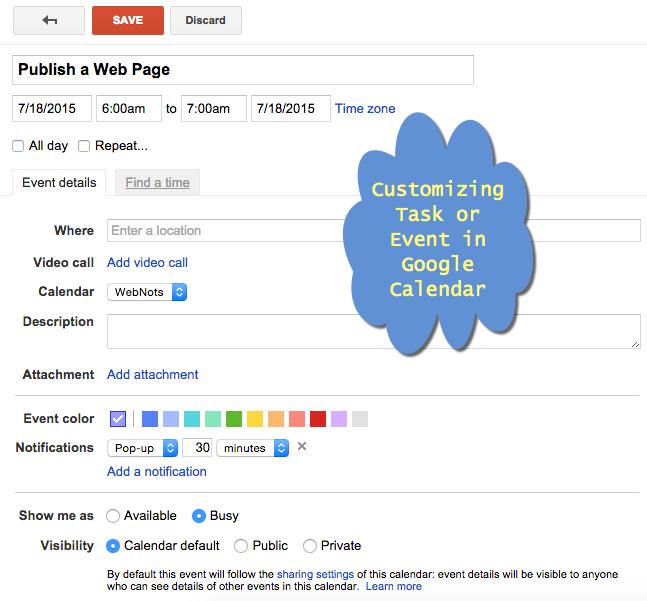 Customizing Task or Event in Google Calendar