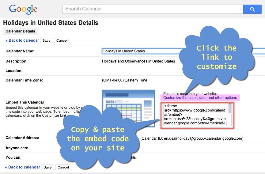 Getting Embed Code for Google Calendar