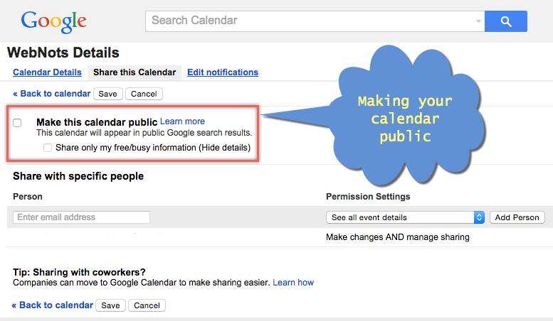 Making Google Calendar Public