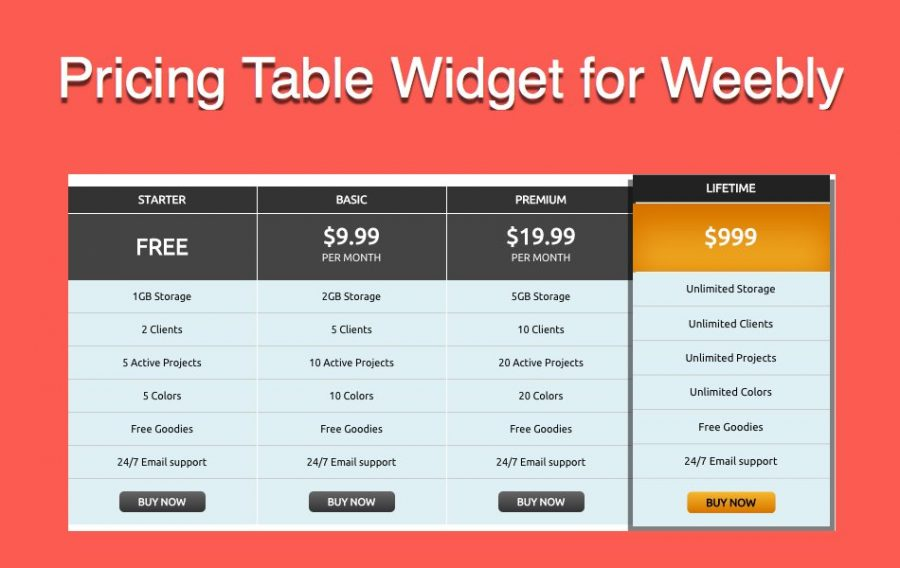 How to Add Free Pricing Table in Weebly Site?