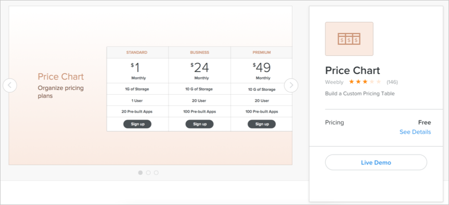 Weebly Pricing Chart App