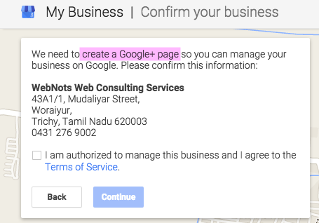 Create a Google+ Page