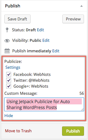 Publicize Social Sharing Before Publishing