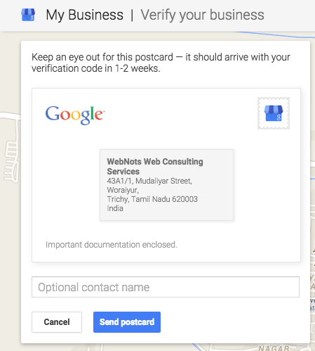 Requesting Postcard Verification