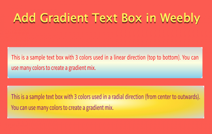 How to Add Gradient Text Box in Weebly?