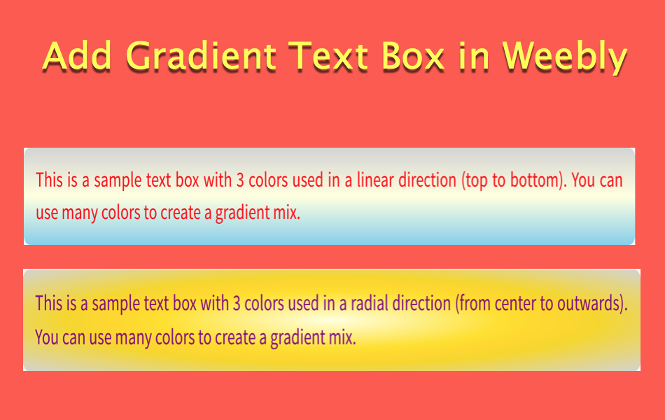 Add Gradient Text Box in Weebly