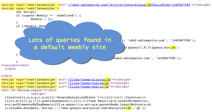 Queries Found in Weebly Site