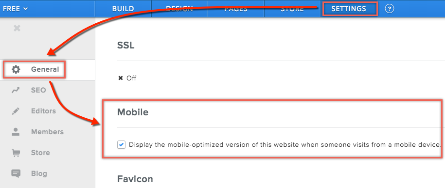 Weebly Mobile Settings Option
