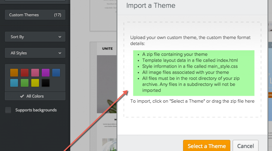 Modify, Import and Export Theme in Weebly