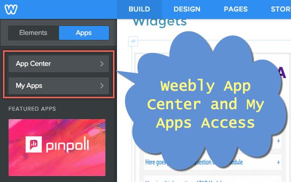 Доступ к центру приложений Weebly