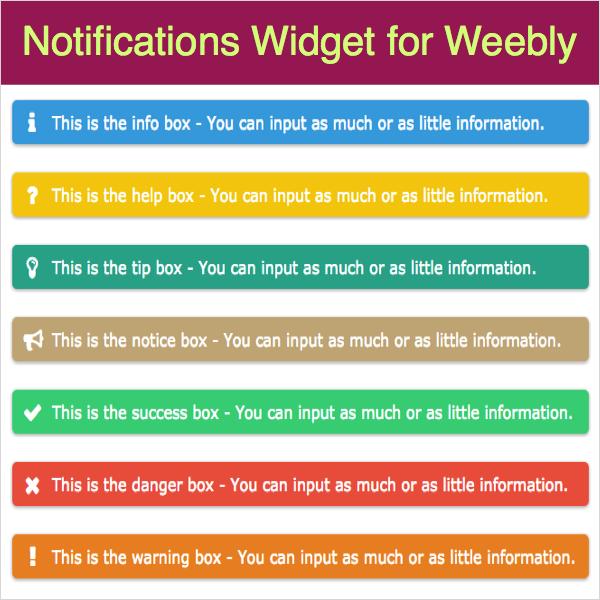 Notifications Widget for Weebly » WebNots