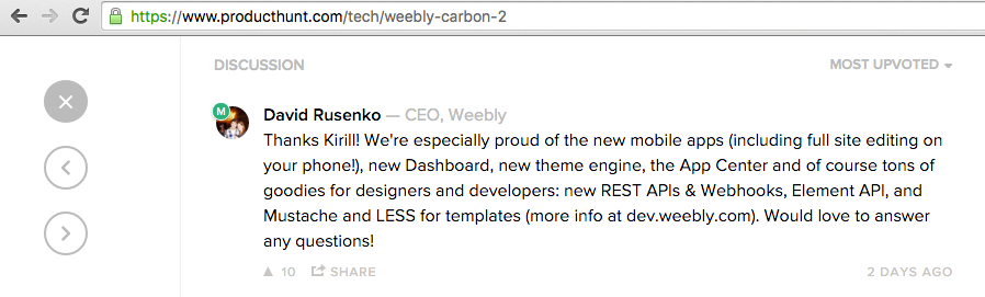 Weebly CEO Updates on Carbon
