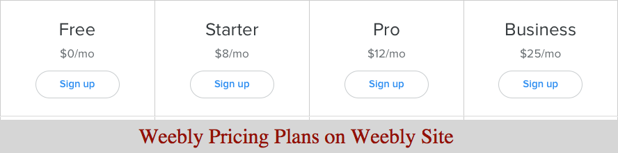 Weebly Pricing Plans on Weebly Site