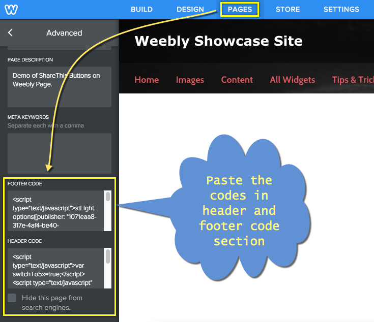 Adding ShareThis Widget Code in Weebly