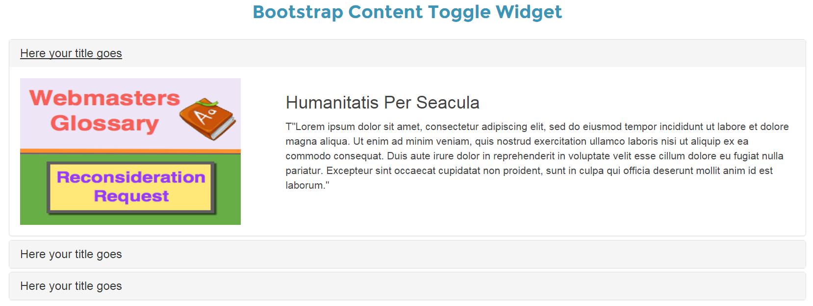 Слайдер содержимого Bootstrap Accordion