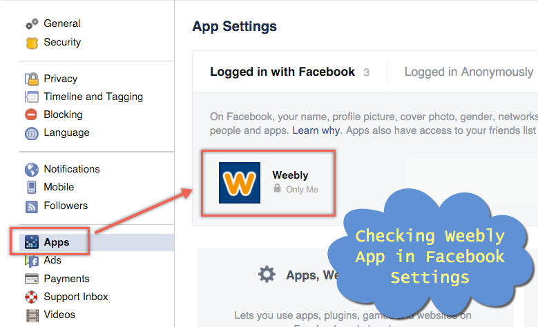 Checking Weebly App in Facebook Settings