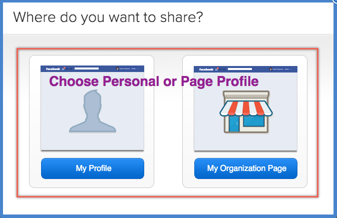 Choose Facebook Personal or Page Profile
