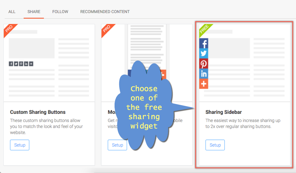 Choosing Social Sharing Buttons in AddThis