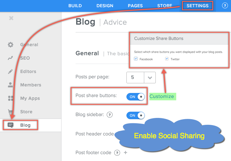 Enable Sharing Buttons for Weebly Blog Post