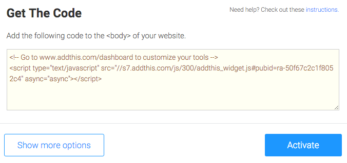 Getting Embed Code for AddThis Social Widget
