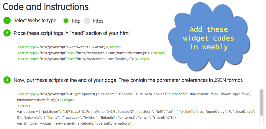 Getting Embed Code for the Sharing Widget