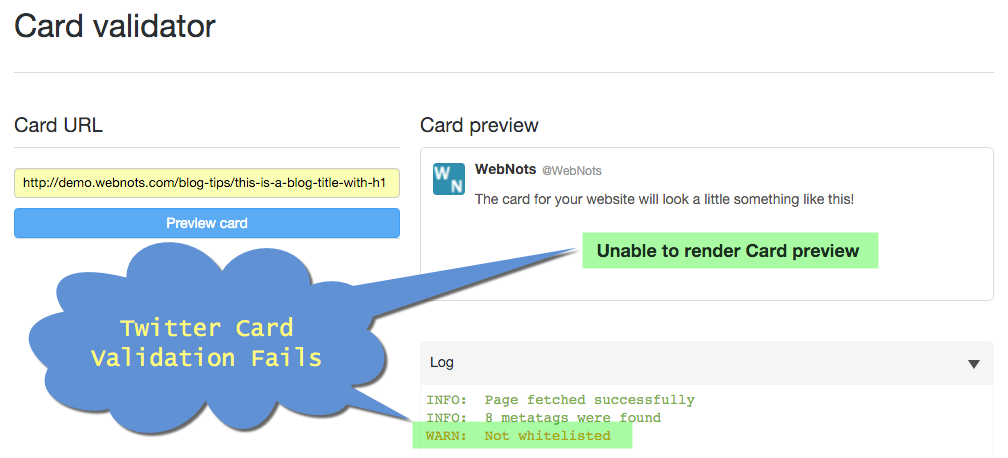 Twitter Card Validation of Weebly Article