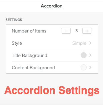 Weebly Accordion App Settings