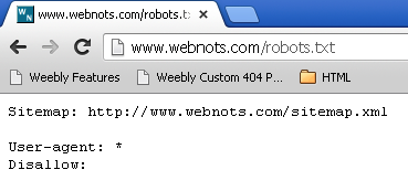 Robots Text File Viewed on Browser