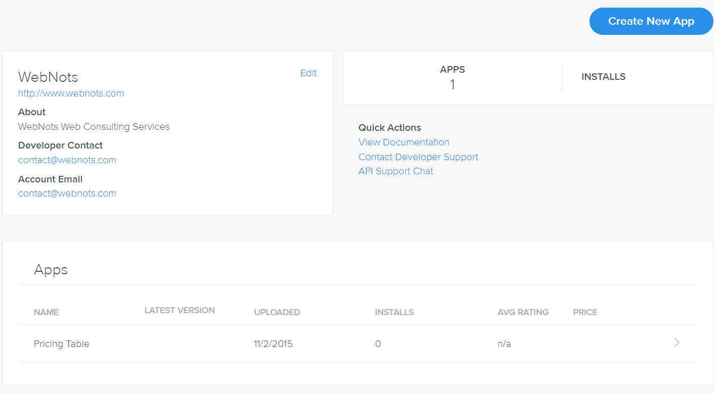 Weebly Developer Platform Dashboard