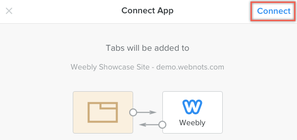 Connecting Tabs App in Weebly Site