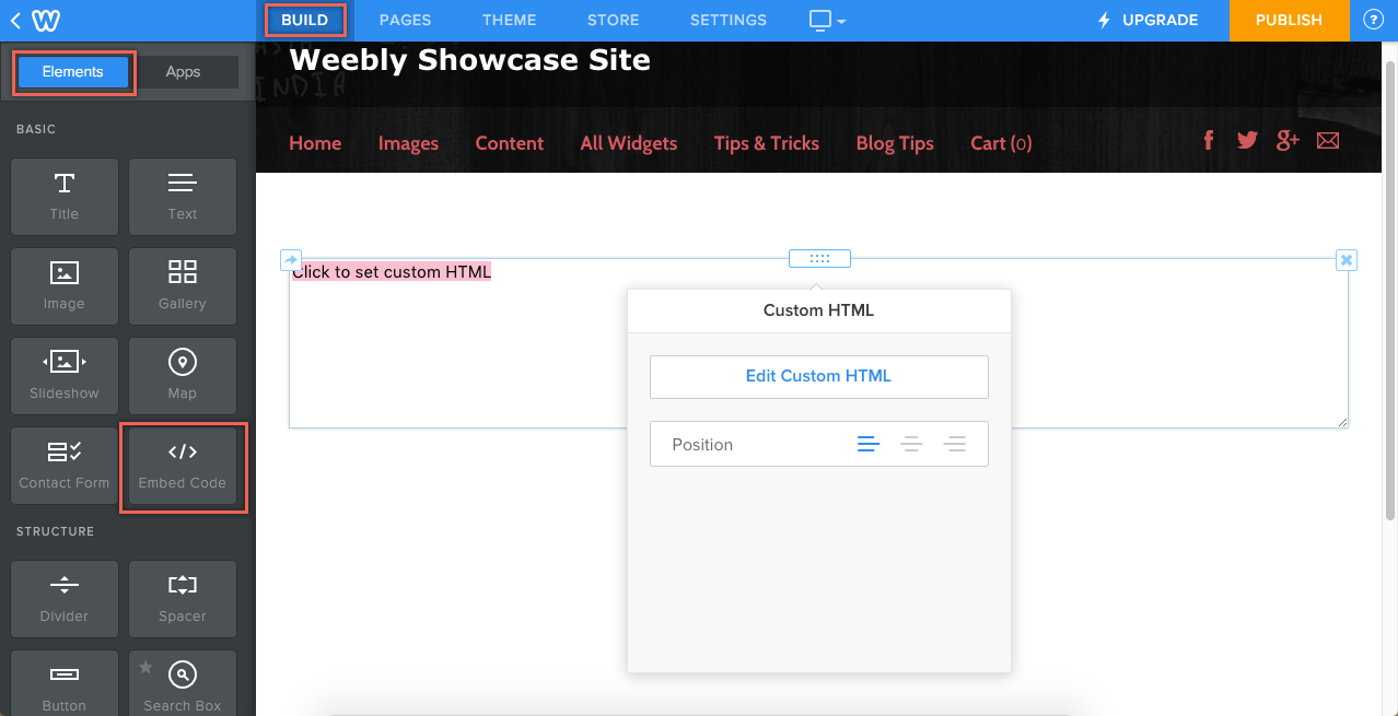 Weebly Embed Code Element